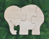 Elephant Baby Puzzlewith Bag for Storage Handmade Educational Wood Puzzle