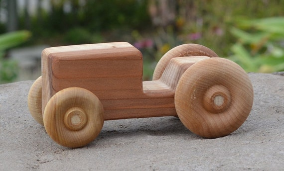 Tractor Redwood Toy Wood Car by WoodenGiraffeToys on Etsy