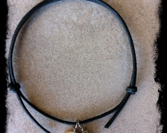 Men's or Unisex Black Cotton Cord Bracelet with Peace and Handcrafted Gemstone Charm