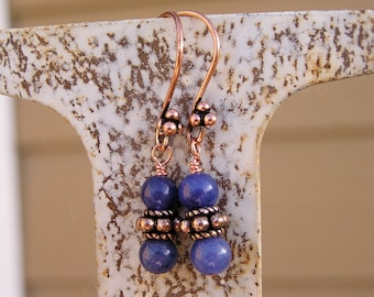 Rustic Gemstone Earrings with Blue Aventurine and Antique Finish Copper Ear Wires
