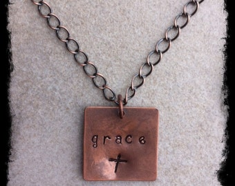 Copper Christian Inspirational Hand Stamped Tag Women's Necklace with Copper Chain
