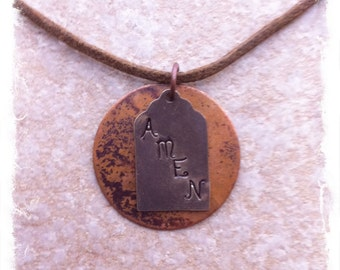 Men's or Unisex Brown Cotton Cord Christian Inspirational Necklace with Hand Stamped Brass & Copper Tags
