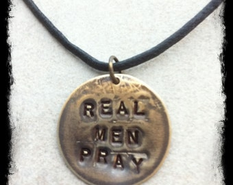 "Men's or Unisex Hand Stamped Brass Tag ""REAL MEN PRAY"" Black Cotton Cord Necklace"