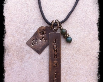 Mens or Unisex Hand Stamped Brass Tag Necklace With John 3:16 Christian Inspirational Message