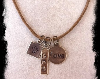 Men's or Unisex Brown Cotton Cord Christian Inspirational Necklace with Hand Stamped Brass Tags