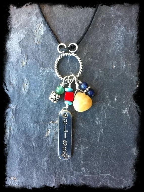 Women's Black Cotton Cord Inspirational Necklace with Gemstone Charm & Hand Stamped Sterling Tag