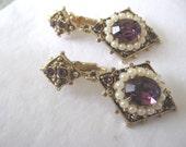 CORO Clip On Earrings, Long Dangle Drops, Purple Rhinestones With Faux Pearls