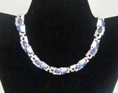 RESERVED Mid Century Modern Vintage Trifari Sapphire and Diamond Crystal Rhinestones on Silver Necklace