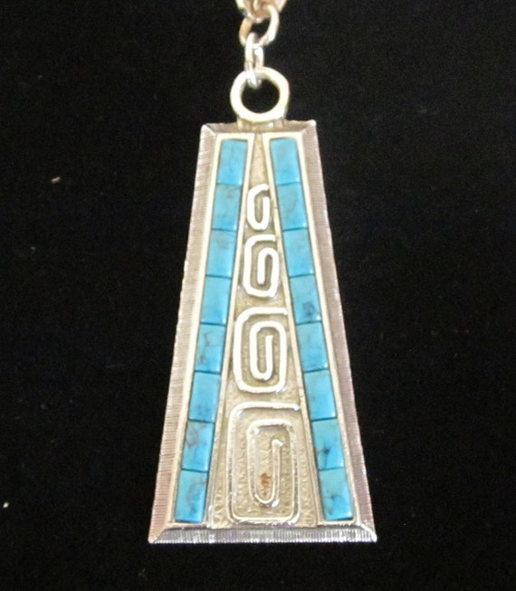 Mid Century Modern Vintage Whiting and Davis Turquoise and Silver Pendant Necklace
