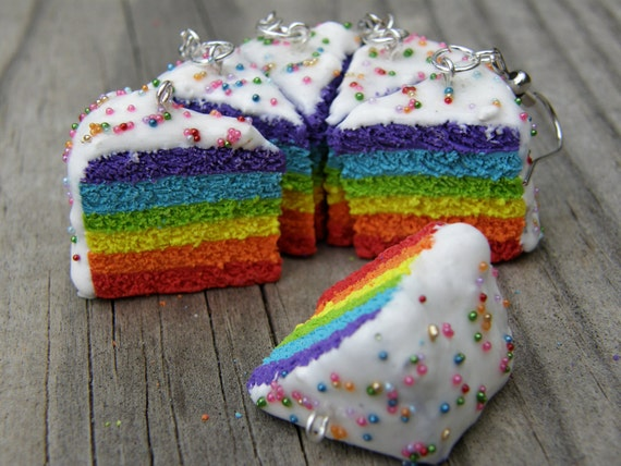 CLEARANCE Six Layer Rainbow Pride Cake Necklace With Microbead Sprinkles