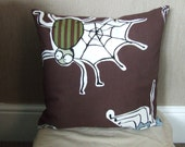 "16"" Handmade modern chocolate brown spiders cushion cover, pillow, pillow case, scatter cushion."