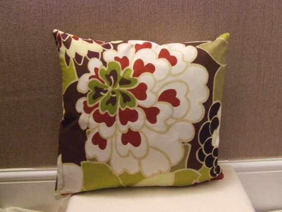 """CLEARANCE One 16"""" Handmade brown, pistachio, green, red flowered cushion covers, pillow, pillow case, scatter cushion."""