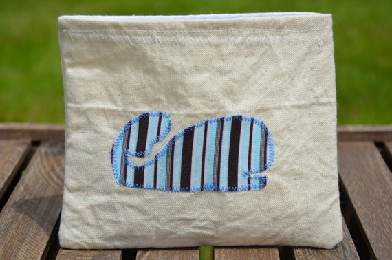 SALE Reusable Snack Bag, Whale Snack Bags, Eco Snack Bags, Striped Whale, Nylon Lined, Back To School