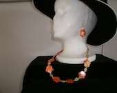 Orange Glow - Necklace with Matching Earrings