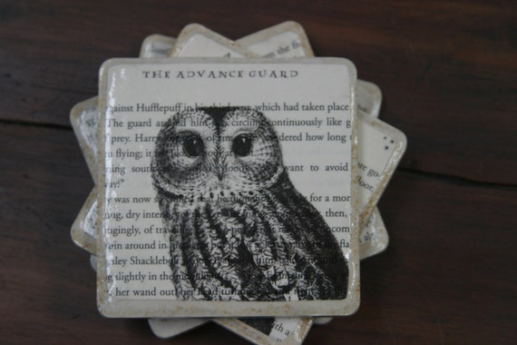 Stone Tile Drink Coaster Owl,Harry Potter and the Order of the Phoenix Upcycle Book Page Art