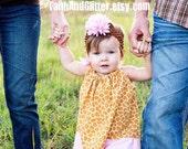 Giraffe & Pink Pillowcase Dress with Matching Hair Bow