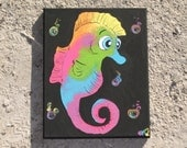 "Under 25 Gift Home Bathroom Decor Original Painting: Seahorse - ""Save a Seahorse, Ride a Flounder"""