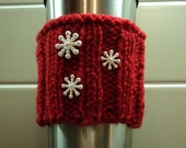 Coffee Cup Sleeve/Cozy - Red with snowflakes