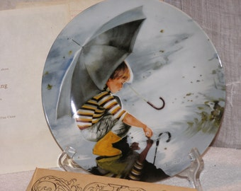 Collector Plate Pemberton & Oakes Donald Zolan's WONDER OF CHILDHOOD Touching The Sky Discontinued 1982