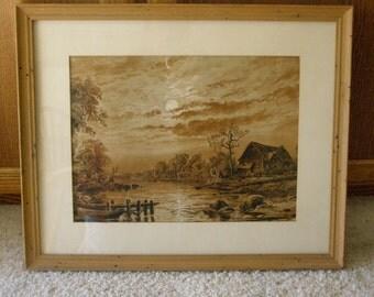 SALE-Vintage 1911 Print Moonlit Night or Mid-Morning quiet Lake Scene
