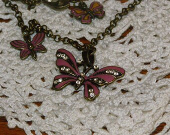 Vintage Butterflies and Single Faux Diamond Bracelet make this an unusual Piece great Stocking Stuffer