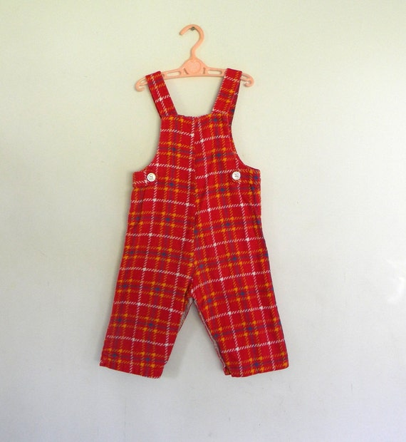 Vintage Overalls, Boy's Red Plaid Overalls Size 18 Mos.