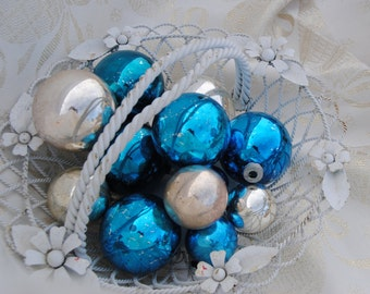 Mercury glass Christmas ornaments peacock blue and silver - set of 12
