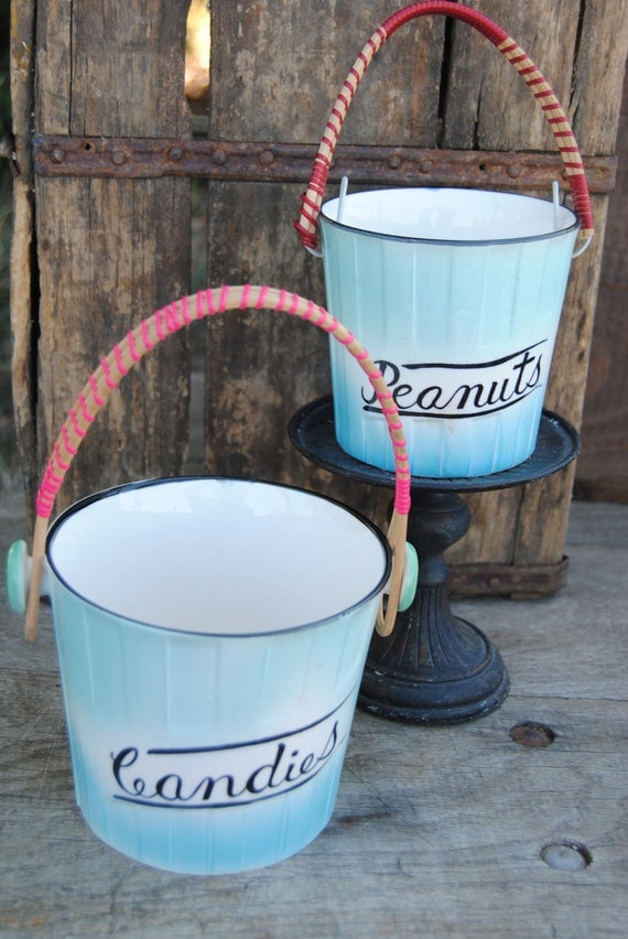 RESERVED FOR DEBBIE Candies and Peanuts ceramic bucket in turquoise from the 1950s