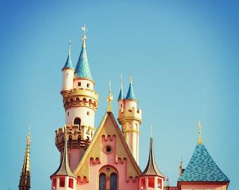 Fine Art Photography - Disneyland castle princess disney nursery decor children kids sky pink photo print wall art