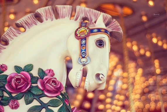 Fine Art Photography -  Nursery decor retro carousel carnival vintage baby children horse photo print wall art