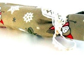 4 placemats and wine cover ,snowman designed  fabric surrounded by trim lace , gift idea for house,  homeware gift
