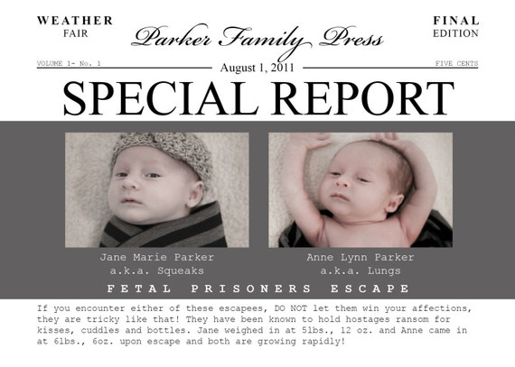 Fetal Prisoner Baby Announcement