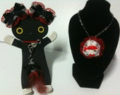 Pirate Bunny necklace w/ matching hairclips & feather charm bracelet