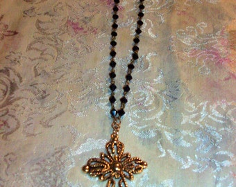 Black Jet Marion crystal Beaded Necklace with cross