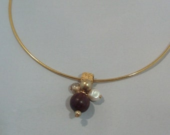 Gold Fancy Slider with beads on a Memory Wire Chocker