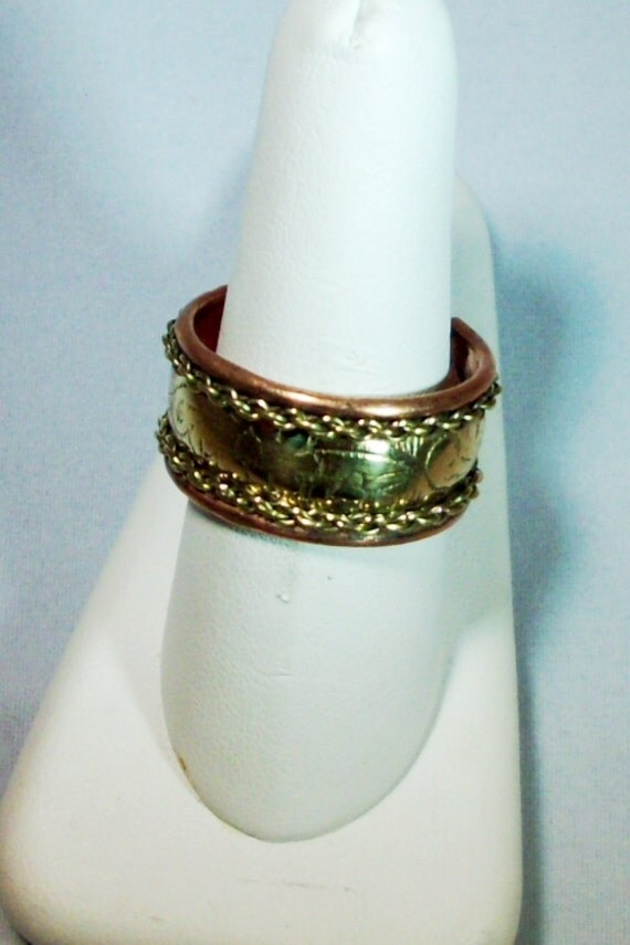 Highly detailed High quality Copper with Brass Inlay Adjustable Ring