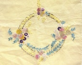 Vintage Table Runner or Dresser Scarf with Fringe, Embroidered Flowers, French Knots