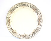 Gold Flowered Plate, Vintage Cream Colored