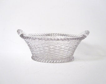 Clear Glass Woven Basket, Small, Vintage