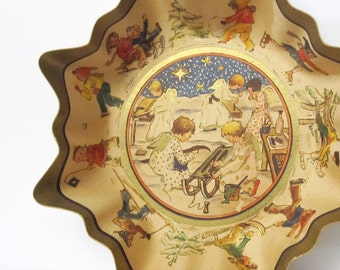 Vintage Christmas Decor Cardboard Candy Bowl, West Germany Container with Angels and Children