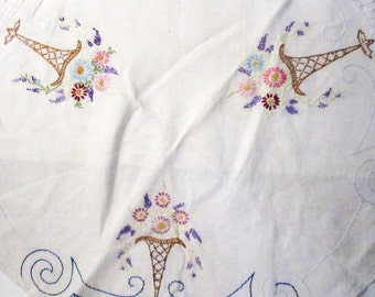 Floral Basket Crewel Tablecloth with Scalloped Edges, Vintage
