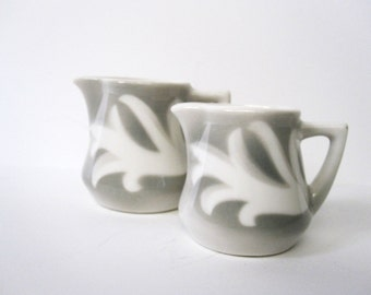 Vintage Diner Ironstone Creamers in Grey and White -- Set of Two