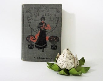 "Vintage Hardcover Book on Story of a School -- ""A World of Girls"" -- Green Binding with Illustrations"
