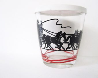 Collectible Sour Cream Glass with Horse, Carriage Motif Vintage with Breakstone Lid