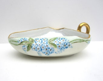 Porcelain Handpainted Dish with Floral Pattern, Gold Trim, Vintage Decor