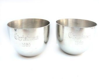Pewter Jefferson Cups, Christmas 1989, Set of Two (2)