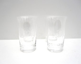 Etched Glass or Vase, Set of Four