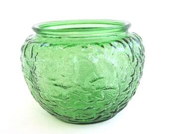 Green Glass Planter or Vase, Vintage Home Decor