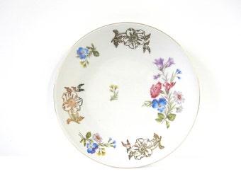 Bavarian Porcelain Flower Plate, Vintage with Gold Accents