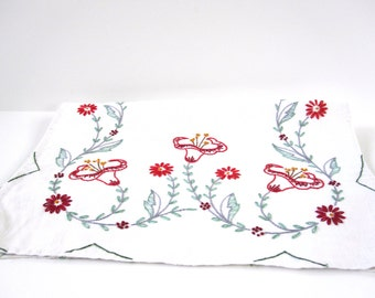 Red Flower Dresser Scarf